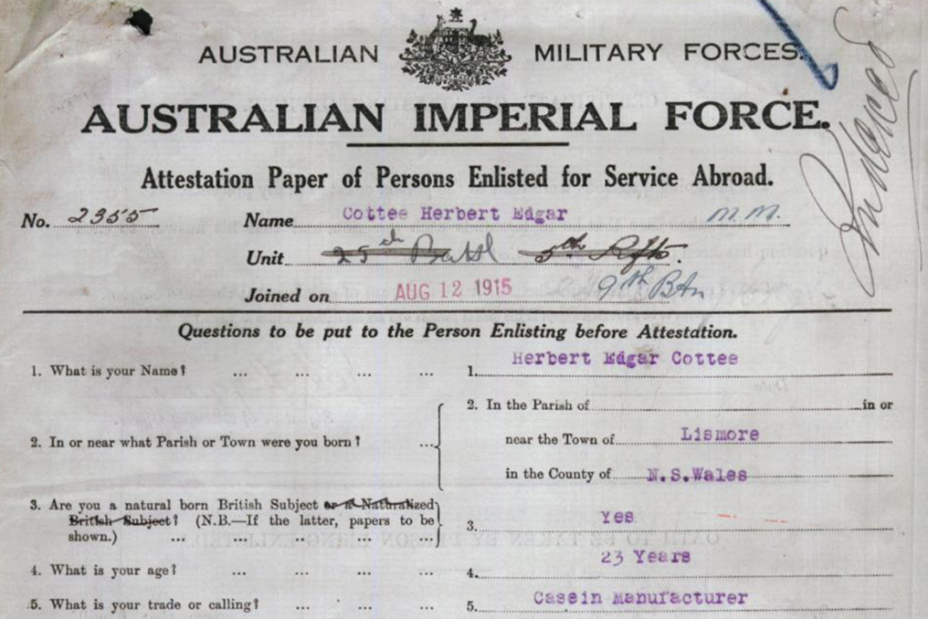 A simple description of domestic employment set within a tumultuous document of global conflict. Herbert Cottee's AIF enlistment papers from 1915, in which his profession is given rather plainly as 'Casein Manufacturer'. Given that casein manufacture would play a part in the Cottee family's fortune for the next 100 years, it is particularly suitable that the language of the time refers to his vocation as a 'calling'.