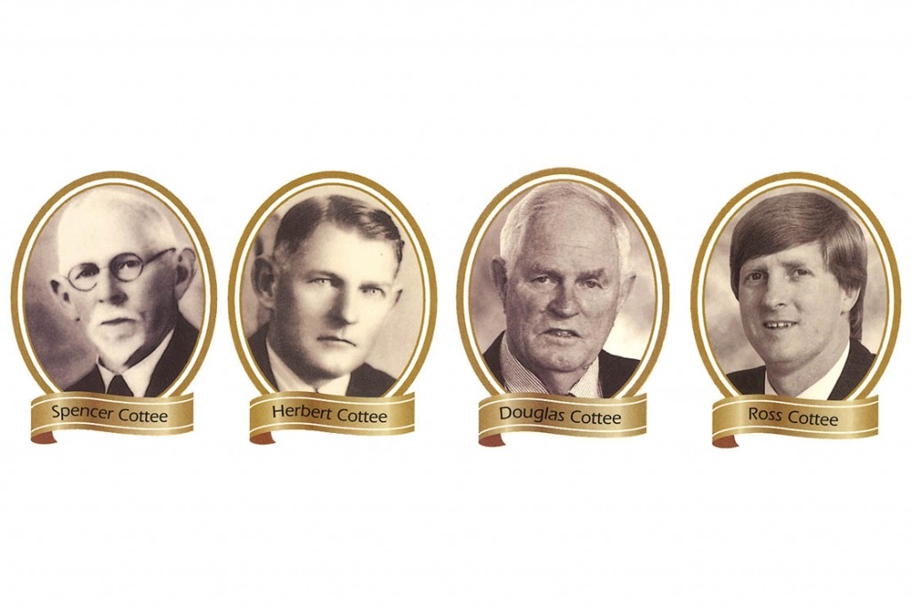The faces of four successive generations of Cottee. The faces of four central architects of the Australian casein and dairy industry. From left: Spencer Cottee [1863-1944], Herbert Cottee [1891-1980], Douglas Cottee [1922-2007], Ross Cottee [current Managing Director]